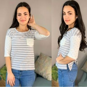 Maison Jules Striped White Gray Top